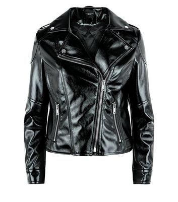 Petite Black High Shine Leather-Look Biker Jacket New Look