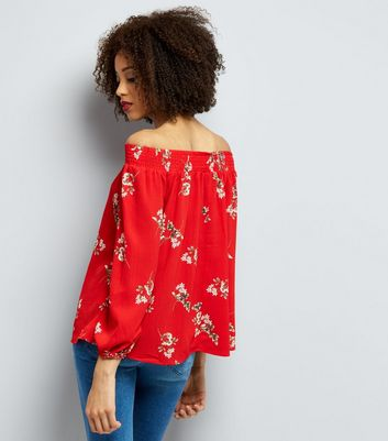 AX Paris Red Floral Bardot Top New Look