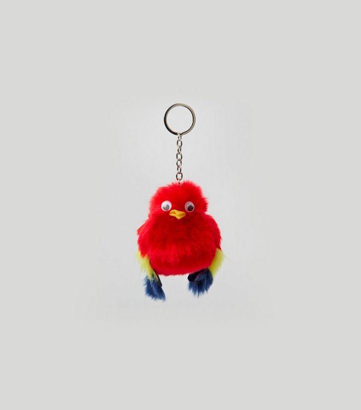 Red Faux Fur Parrot Pom Pom Keyring  546f7f6e3