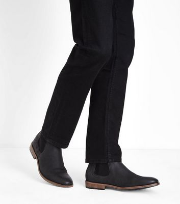 Black Cleated Sole Chelsea Boots New Look
