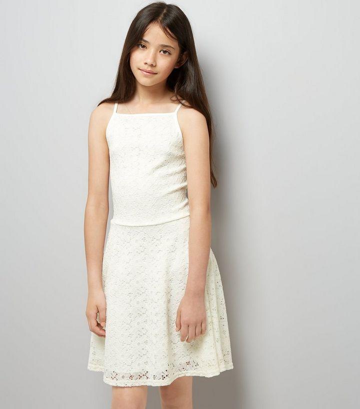 a6569356b671 Teens Cream High Neck Lace Skater Dress