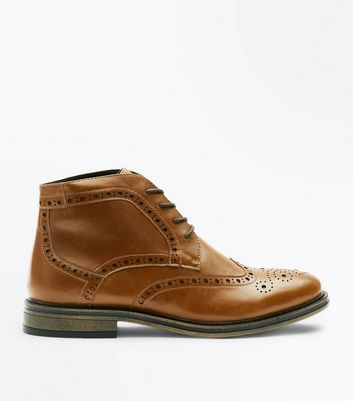 Tan Brogue Boots New Look