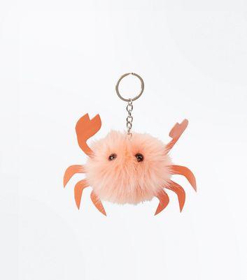 Pink Faux Fur Crab Pom Pom Keyring New Look