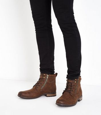 Brown Double Zip Military Boots New Look