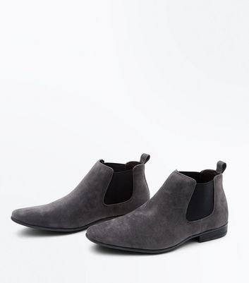 Grey Suedette Pointed Toe Chelsea Boots New Look