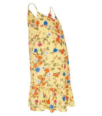 Maternity Yellow Floral Print Peplum Hem Dress New Look