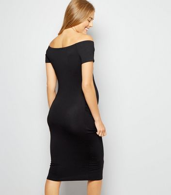 Maternity Black Bodycon Midi Dress New Look
