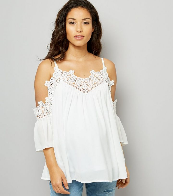 8fde7c08f0afdb Maternity White Crochet Lace Trim Cold Shoulder Top | New Look