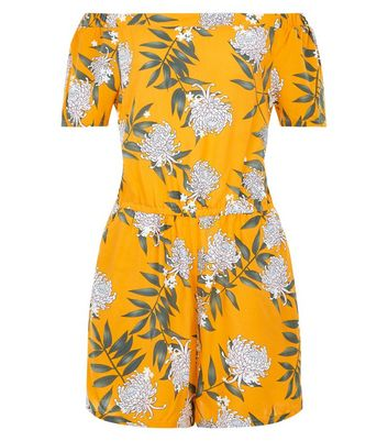 Teens Yellow Floral Print Bardot Neck Playsuit New Look