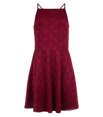 Burgundy Mesh Panel Lace Dress New Look