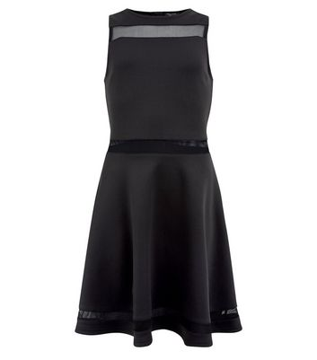 teens-black-mesh-insert-skater-dress