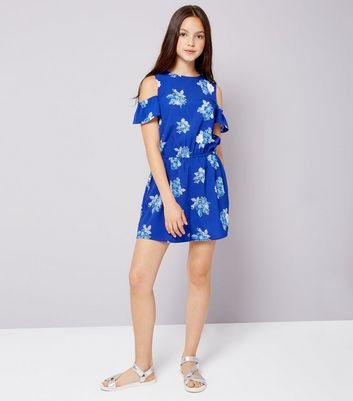 Teens Blue Floral Print Cold Shoulder Playsuit New Look