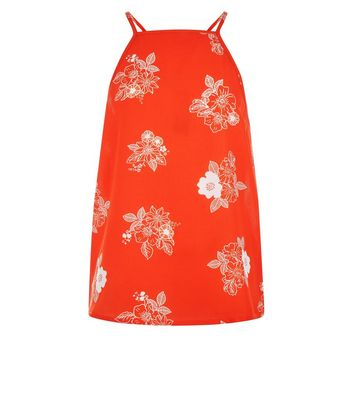 Teens Orange Floral Print High Neck Cami Top New Look