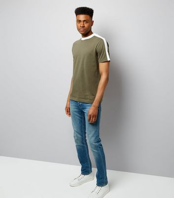 Khaki Contrast Stripe T-Shirt New Look