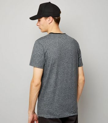 Grey Marl V Neck T-Shirt New Look