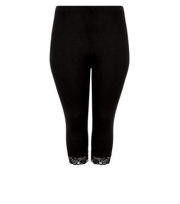 Curves Black Lace Trim 3/4 Leggings New Look