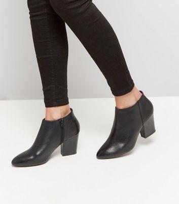 Black Leather Block Heel Shoe Boots