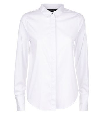 White Curved Hem Shirt New Look