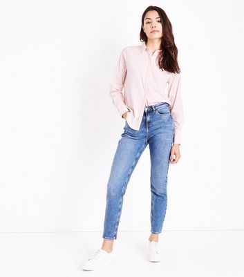 Shell Pink Curved Hem Shirt New Look