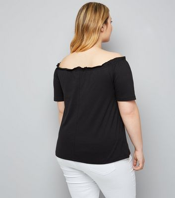 Curves Black Lace Up Bardot Neck Rock T-Shirt New Look