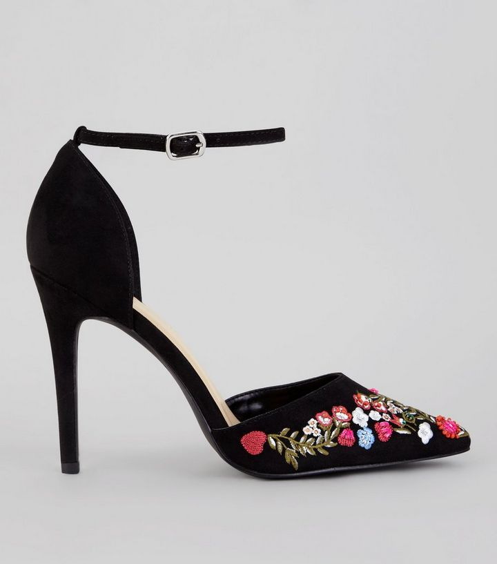 a6fd412039d5 Black Embroidered Pointed Heels