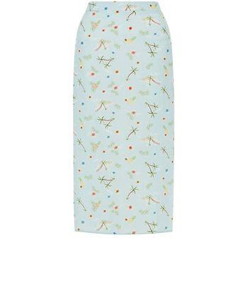 Blue Floral Print Split Side Midi Skirt New Look