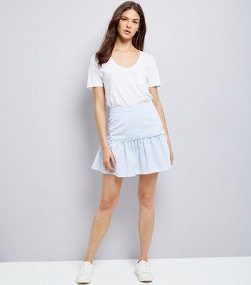 Blue Frill Trim Mini Skirt New Look