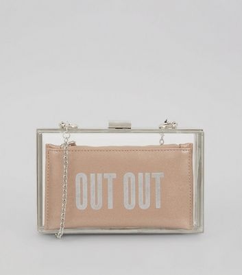 Pink Perspex 2 in 1 'Out Out' Slogan Clutch Bag New Look