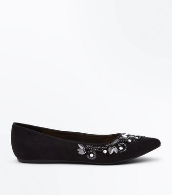 Wide Fit Black Suedette Floral Embellished Pointed Pumps New Look