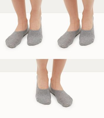 3 Pack Grey Sports Socks New Look