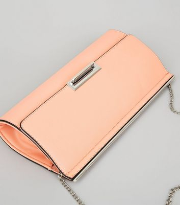 Light Orange Chain Strap Clutch New Look