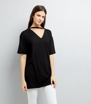 Black Choker Neck Tunic New Look