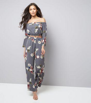 Cameo Rose Grey Floral Print Bardot Neck Crop Top New Look