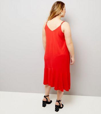 Curves Red Peplum Hem Slip Dress New Look
