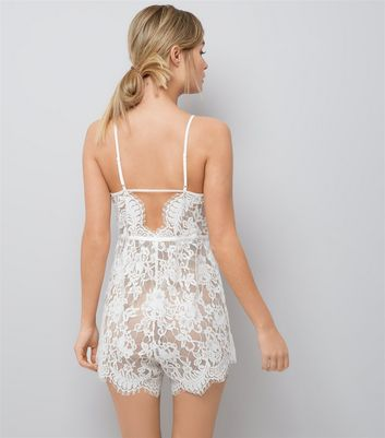 White Bridal Lace Playsuit New Look