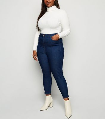 Curves Blue High Waist Skinny Jeans New Look