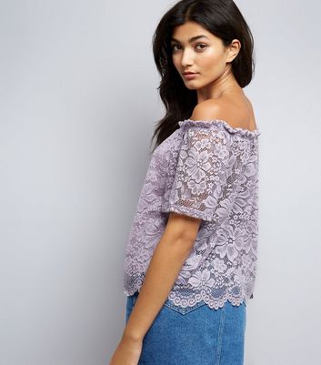 Purple Lace Sleeve Bardot Neck Top New Look