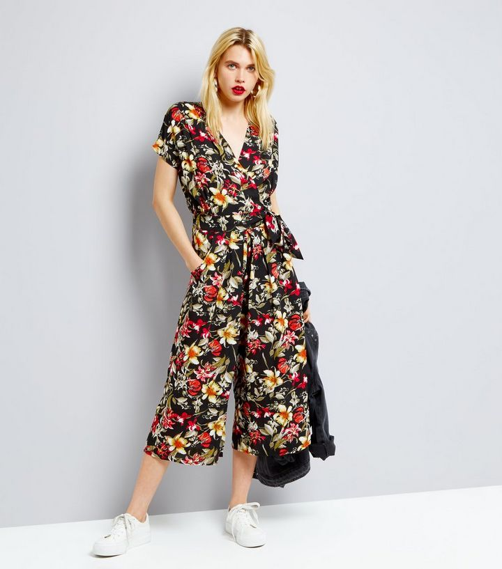 630216a4448 Blue Vanilla Black Tropical Floral Print Wide Leg Jumpsuit. Add to Saved  Items