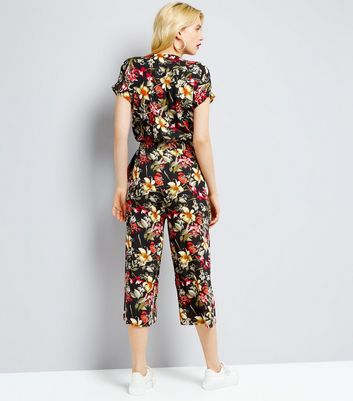 Blue Vanilla Black Tropical Floral Print Wide Leg Jumpsuit New Look