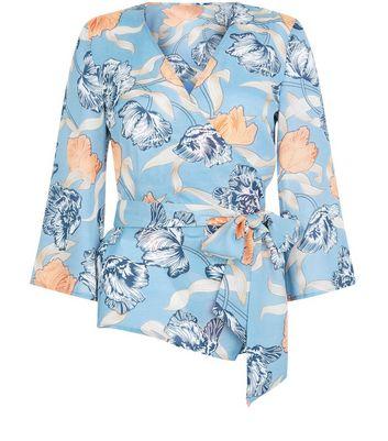 Blue Vanilla Blue Floral Print Wrap Front Top New Look