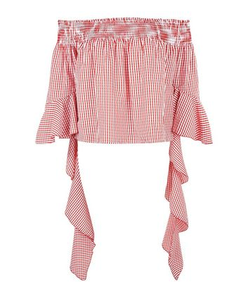 Blue Vanilla Red Gingham Bardot Neck Top New Look