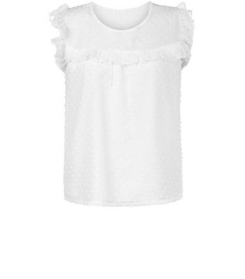 Blue Vanilla White Spot Mesh Top New Look