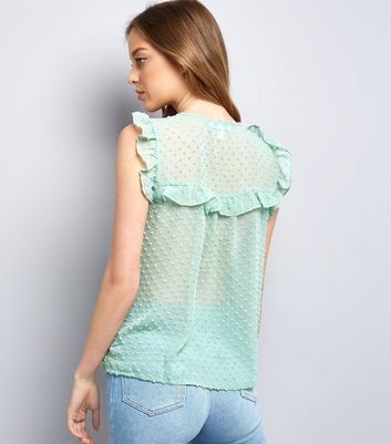 Blue Vanilla Mint Green Spot Mesh Top New Look