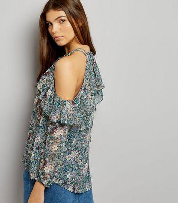 Blue Vanilla Green Floral Print Cold Shoulder Top New Look
