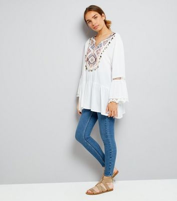 Blue Vanilla Embroidered Coin Front Top New Look