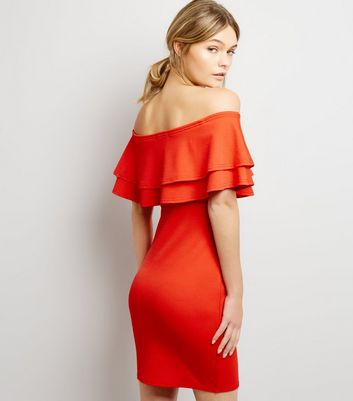 Red Frill Trim Bardot Neck Bodycon Dress New Look
