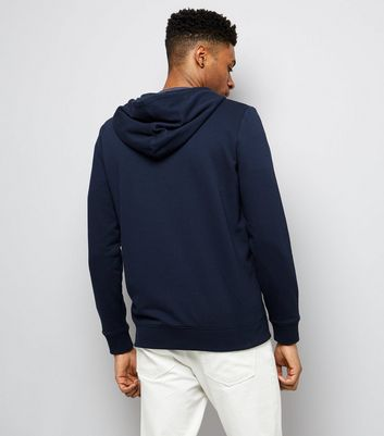 Navy Zip Front Hoodie New Look
