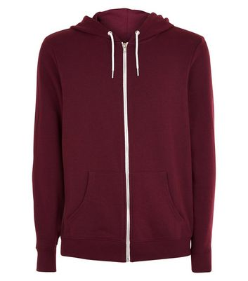 Burgundy Zip Front Hoodie New Look