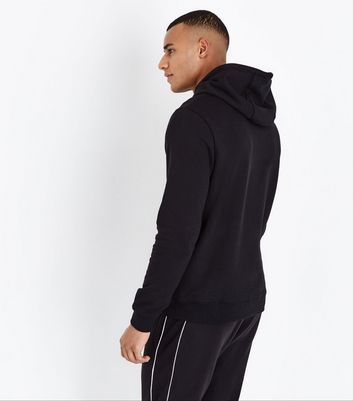 Black Pocket Front Hoodie New Look