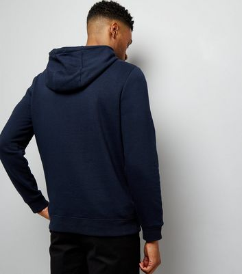 Navy Pocket Front Hoodie New Look